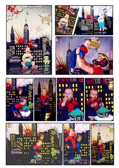 comic poster, Super hero cake smash