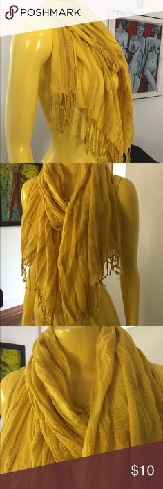 Yellow lightweight scarf. Label has been cut off. Yellow lightweight scarf. Label has been cut off. Pretty pattern. Very soft. Accessories Scarves & Wraps