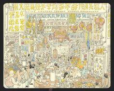 瑞典知名素描畫家Mattias Adolfsson來台,也用他的畫筆記錄下台灣,他畫出夜市的人山人海,還有許多像中文字又不像中文字的招牌。(圖擷取自Mattias Adolfsson臉書)
