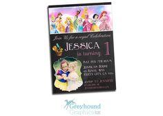 Princess birthday invitation invite all by GreyhoundGraphics, $9.99