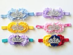 Disney Princess inspired baby headband with shabby flowers and gorgeous princess tiara crown... @Kylie Knapp Knop Bailey needs one of these for my wedding!