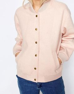 Pink | Ganni Inglewood Pink Bomber Jacket at ASOS