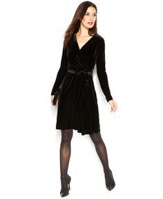 Anne Klein Velvet Faux-Wrap Dress