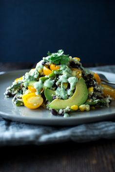 Poblano Peppers, grilled corn, black beans and quinoa with a cilantro lime dressing