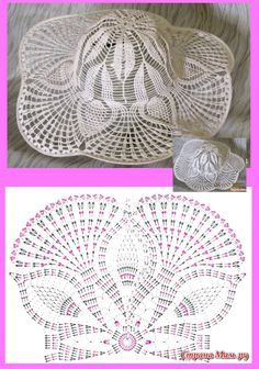 This Pin was discovered by kůs Crochet Hat With Brim, Crochet Summer Hats, Crochet Kids Hats, Crochet Cap, Crochet Buttons, Crochet Diagram, Thread Crochet, Crochet Shawl, Crochet Stitches