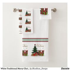 White Traditional Merry Christmas Tree Bath Towel Set Holiday Cards, Christmas Cards, Merry Christmas, Christmas Decorations, Holiday Decor, Bath Towel Sets, Bath Towels, Christmas Items, Christmas Card Holders