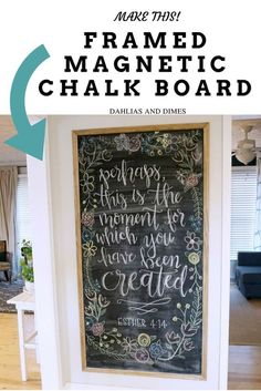 Here's an easy, inexpensive way to create a large, framed magnetic chalk board for any empty wall in your home. Customize the size to fit your needs! Having