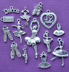 The Ultimate Ballet Charm Collection Antique Tibetan Silver Tone The Ultimate 14 Different Charms - COL182