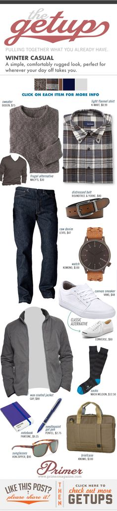A simple, comfortably rugged look, perfect for wherever your day off takes you.