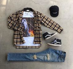 Streetwear Tee with Flannel , Vans High & Distressed Denim Swag Outfits Men, Flannel Outfits, Style Outfits, Tumblr Outfits, Dope Outfits, Casual Outfits, Fashion Outfits, Flannel Shirts, Casual Wear