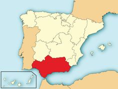 Map of Spain with Andalusia highlighted. Made by HansenBCN, in 2009 (Wikimedia)
