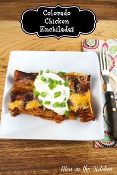 Colorado Chicken Enchiladas {Slow Cooker} from Miss in the Kitchen