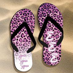 Sigma Sigma Sigma Cheetah Print Flip Flops $17.95 #Greek #Sorority #Accessories #SigmaSigmaSigma #TriSigma #Cheetah #Beach #Summer