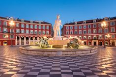 Picture of Fontaine du Soleil at dusk in Nice, France