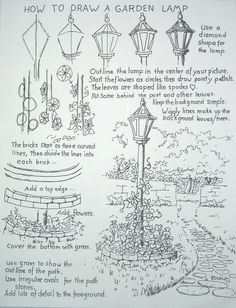how to draw a garden lamp post - Google Search