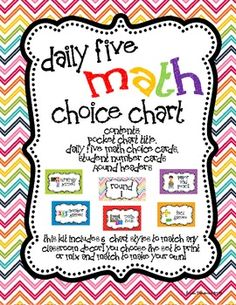 Any easy way to manage your Daily 5 Math (Daily Five Math) Workstations...Plus, it perfectly coordinates with the matching Daily Five Literacy Choice Chart! $5.00