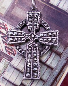 vintage sterling marcasite celtic cross