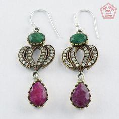 Christmas Bonanza !! 925 Sterling Silver Multi Stone Earrings E4088 #SilvexImagesIndiaPvtLtd #DropDangle