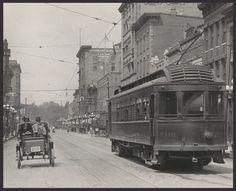 "Old antique view, Rockford, Illinois, Cable car, Auto, St scene, 30""x24"" PHOTO"