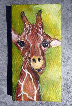 Giraffe Original Painting mini painting on by SharonFosterArt Mini Paintings, Easy Paintings, Animal Paintings, Original Paintings, Original Art, Giraffe Painting, Giraffe Art, Acrylic Painting Canvas, Giraffes