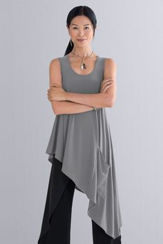 Drama and elegance combine in a swingy tunic with an asymmetrical hem that cascades to a long side point. Drifter Tunic by Sympli: Knit Tunic available at www.artfulhome.com