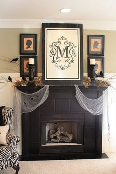 Framed initial flag over fireplace?! YES please!