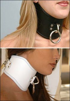 "The Tall Curved Posture Collar is made of thick, rigid leather which won't ever crease. It has a D ring in the front for a leash. Collar is closed by means of one locking buckle at the back. Note: these collars are 4"" tall, and will fit best on people with longer necks. Also available: Ringless version This item is not packaged; it is sold bulk. Small - Tall Curved Posture Collar - fits 12½ - 14½"" neck Medium - Tall Curved Posture Collar - fits 15 - 17½"" neck Large - ..."