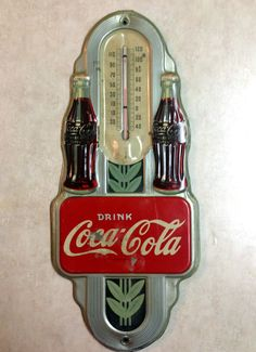 1941 Coca Cola Thermometer Double Bottle Coke Tin Sign Thermometer Vintage