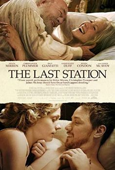 The Last Station Poster - James McAvoy as Valentin Bulgakov. Co-stars - Helen Mirren, Christopher Plummer, Anne-Marie Duff, Paul Giamatti, Kerry Condon - Pin Tool Christopher Plummer, Anne Marie Duff, James Mcavoy, Good Movies To Watch, Great Movies, Romance Movies, Drama Movies, Netflix Movies, Movies Online