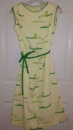 Vtg-60s-Sundress-Dress-Yellow-Green-Novelty-DUCKS-ALLIGATORS-Vested-Gentress-8