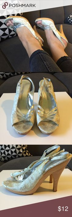 Brocade Wood Slingbacks Great vintage looking metallic silver and mint green brocade wooden heels. Some cracking on the silver faux leather piece over top of toes. Chinese Laundry Shoes Heels