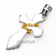Men's Silver Gold Chain Stainless Steel Cross Pendant with Chain Necklace  - $53nok
