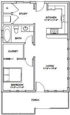 1 Bedroom House Plans, Cottage House Plans, Small House Floor Plans, Modern House Plans, The Plan, How To Plan, Barndominium Floor Plans, Apartment Floor Plans, Apartment Ideas