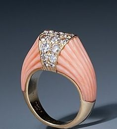 CARTIER | Fluted Coral & Diamond Ring