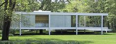 The Farnsworth House, L Mies Van der Rohe  1945 to 1951: Glass-walled International Style home in Plano, Illinois, USA. Ludwig Mies van der Rohe, architect. Find facts below