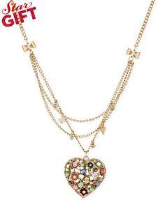 Betsey Johnson Gold-Tone Crystal Heart Pendant Multi-Row Necklace