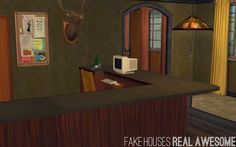 This is a seedy motel for Foxhollow, next to the Gas 'n' Grease on the outskirts of town. Hotel Motel, Sim, Houses, Mirror, Awesome, Furniture, Home Decor, Homes, Decoration Home