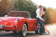 1956 Vette engagement photo