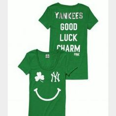 VS PINK NY Yankees 'Good Luck Charm' tee Get ready for the season:))) NWOT, Never worn! Please,  look thru my whole closet!  Everything MUST GO!!!! Bundle, bundle,  bundle. Let's Negotiate! Gd bless you!  Xoxoxo PINK Victoria's Secret Tops Tees - Short Sleeve