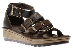 This stylish gladiator-type sandal is crafted from supple leather and features four adjustable hook and loop straps with faux buckles for a secure comfortable fit. The removable, anatomical cork and latex footbed is wrapped in pampering suede and molds to Birkenstock Milano, Begonia, Sandals, Stylish, Brown, Leather, Shoes, Fashion, Slide Sandals