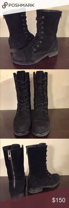 All Saints Black Suede Military Boot All Saints Black Suede Military Boot  EEUC Gunmetal hardware Classic military style  It's a size 37.... but it fits like a 7.5 I'm a 7.5 or between 37 and 38, and this boot fits perfectly All Saints Shoes Combat & Moto Boots