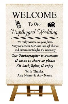 Shabby Chic Unplugged No Cameras No Phones Personalised Wedding Sign PosterDigitally printed onto high quality 350gsm satin card and then gloss