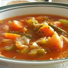 A package of onion soup mix flavors the tomato broth in which six different vegetables are combined with shredded cabbage in this fat free, low-calorie soup. Collard Green Soup, How To Cook Corn, How To Cook Quinoa, Food To Make, Baby Food Recipes, Soup Recipes, Diet Recipes, Healthy Recipes, Immune System
