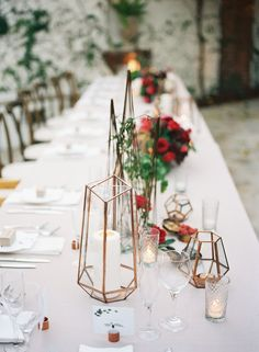 Geometric wedding table decor: Spring Villa San Juan Wedding