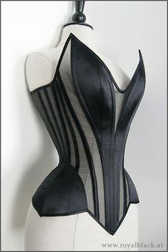 Black sheer and satin corset by Royal Black