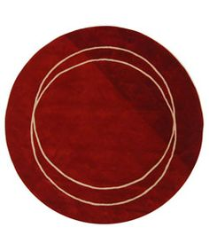 Handmade Rodeo Drive Circle of Life Red/ Ivory New Zealand Wool Rug (5'9 Round)