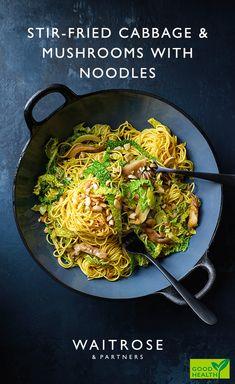 Stir-fried cabbage & mushrooms with noodles Vegan Coleslaw vegan coleslaw waitrose Veg Recipes, Asian Recipes, Vegetarian Recipes, Dinner Recipes, Cooking Recipes, Healthy Recipes, Recipies, Veg Dishes, Vegetable Dishes