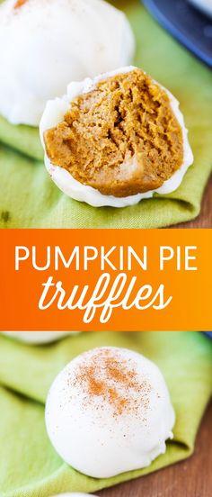 Pumpkin Pie Truffles - These easy pumpkin pie truf…