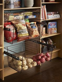 Pantry Organization Made Easy: Keep fresh produce in sight and on hand with see-through wire baskets that pull out...would be great in cold storage.