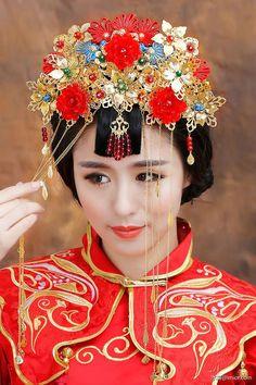 水舞新娘原創紅色花朵串珠流蘇中式古裝頭飾